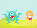 Monster and girl running away from a Stock Image