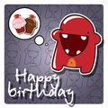 Monster happy birthday card Stock Photo