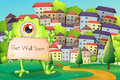 A monster holding a card at the hilltop across the village illustration of Royalty Free Stock Images