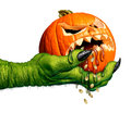 Monster Holding Creepy Pumpkin Royalty Free Stock Photo