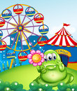 A monster holding a pink flower in front of the carnival illustration Royalty Free Stock Image