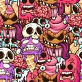 Monster  ice cream, popsicle and cupcake  seamless pattern Royalty Free Stock Photo