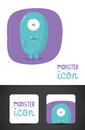 Monster icon and business card design Royalty Free Stock Images