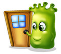 A monster knocking at the door illustration of on white background Royalty Free Stock Photography