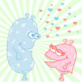 Monster Love Cartoon Characters Royalty Free Stock Photo