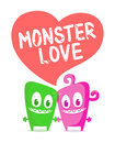 Monster love in vector illustration Royalty Free Stock Images
