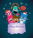 Monster merry christmas card design vector illustration Stock Photography