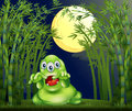 A monster in the middle of the bamboo forest illustration Stock Photo