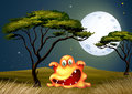A monster near the tree scaring in the middle of the night illustration Stock Photography