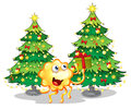 A monster near the two green christmas trees illustration of on white background Stock Image