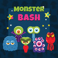 Monster party card vector with funny cartoon monsters Stock Images