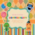 Monster party invitation card design vector hipster Stock Images