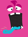 Monster pink background with big open mouth for your text or list Royalty Free Stock Photos