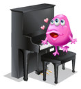 A monster playing with the piano illustration of on white background Royalty Free Stock Photos