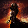 Monster profile walking alien with fire background fantasy illustration Stock Photography