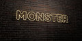 MONSTER -Realistic Neon Sign on Brick Wall background - 3D rendered royalty free stock image
