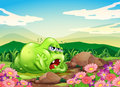 A monster resting at the garden in the hilltop illustration of Stock Image