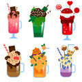 Monster shakes vector set. Giant milkshakes in jars and glasses. Freaky sweet yummy shakes