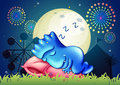 A monster sleeping above the pillow at the amusement park illustration of Royalty Free Stock Photo