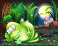 A monster sleeping in the forest illustration of Royalty Free Stock Photography