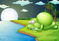 A monster sleeping near the river illustration of Royalty Free Stock Photography
