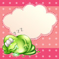 A monster sleeping and salivating with an empty cloud template a illustration of at the back Royalty Free Stock Images