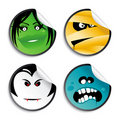 Monster smileys, halloween stickers. Royalty Free Stock Photos