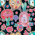 Monster sticker drawing seamless pattern Royalty Free Stock Photo