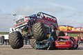 Monster truck podington uk february red dragon gives demonstration rides to the paying public at the annual stuntfest event on Royalty Free Stock Photo