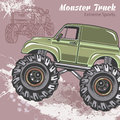 Monster Truck on the sport background with splashes and sketch. Retro vector illustration. Extreme Sports. Adventure
