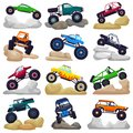 Monster truck vector cartoon vehicle or car and extreme transport crawling in rocks illustration set of heavy rocky
