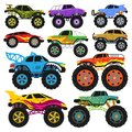 Monster truck vector cartoon vehicle or car and extreme transport illustration set of heavy monstertruck with large
