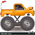 Monster truck vector illustration of a yellow cartoon Royalty Free Stock Photos
