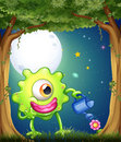 A monster watering the plants in the middle of the night at the illustration forest Stock Photo