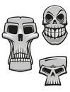 Monster and zombie skulls set isolated on white for halloween or horror concet design Royalty Free Stock Image