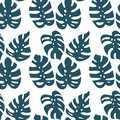 Monstera leaf seamless pattern on white background. Vector illustration in hand drawn flat