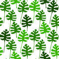 Monstera plant green leaves on white seamless pattern, vector