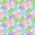monstera purple, light green, pink and blue leaves tropical summer paradise pattern on a white background seamless vector