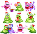 Monsters celebrating christmas Royalty Free Stock Photo