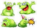 Monsters flashcard of four green Stock Photo
