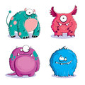 Monsters four funny furry on white background Stock Photo