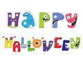 Monsters happy halloween monster collection letter vector illustration Stock Images