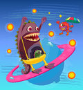 Monsters illustration of on a blue background Royalty Free Stock Photo