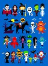 Monsters mash halloween characters cartoon including vampires witch ghosts frankenstein his bride headless knight mummy monster Stock Photos