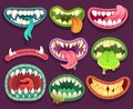 Monsters mouths. Halloween scary monster teeth and tongue in mouth. Funny jaws and crazy maws of bizarre creatures