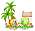 Monsters near the wooden signboard illustration of on a white background Stock Photo