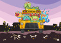 Monsters and school bus illustration of on a horror background Royalty Free Stock Photography