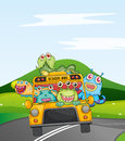 Monsters in schoolbus Royalty Free Stock Image