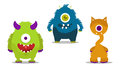 Monsters set cute with one eye Royalty Free Stock Photo
