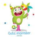 Monsters University. Cartoon Monster Mascot. Green Monster With Color Pinwheel. Royalty Free Stock Photo